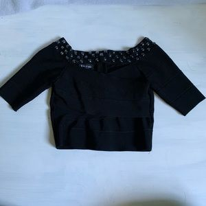 Bebe Cropped Bandage Top w/Embellishment